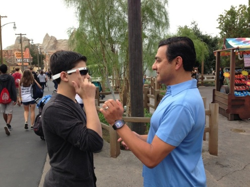 "My son gets a demonstratuion of ""Google Glass"" from Google VP Vic Gundotra"